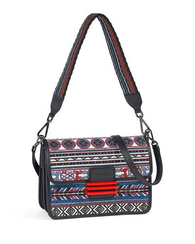 Embroidered Striped Shoulder Bag