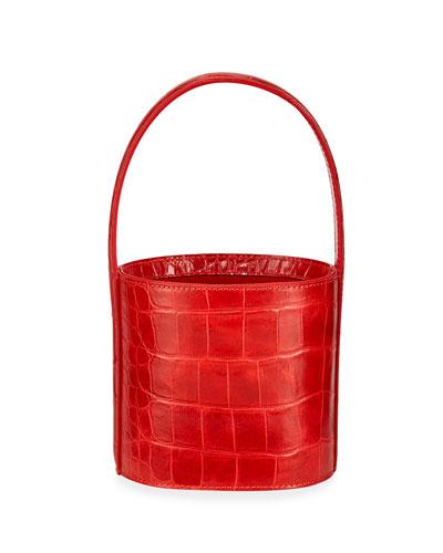 Bissett Crocodile-Print Bucket Bag