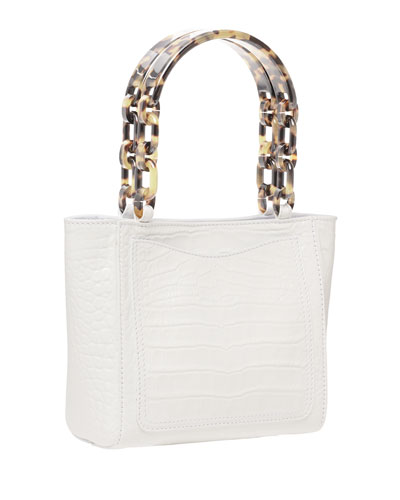 Micro Crocodile-Embossed Tote Bag