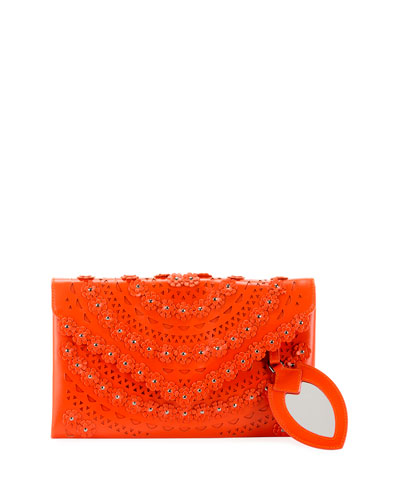 Oum Laser-Cut Leather Clutch Bag with Flowers