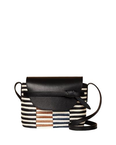Checkerboard Wrapped Raffia Crossbody Bag