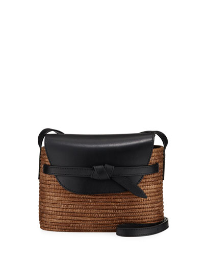 Solid Jute and Leather Shoulder Bag