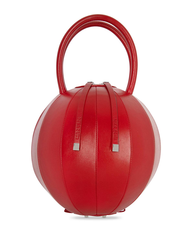 NITA SURI Pilo Leather Circle Top Handle Bag, Red