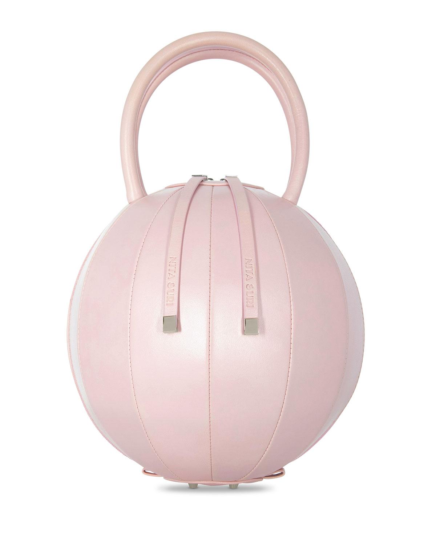 NITA SURI Pilo Leather Circle Top Handle Bag, Pink