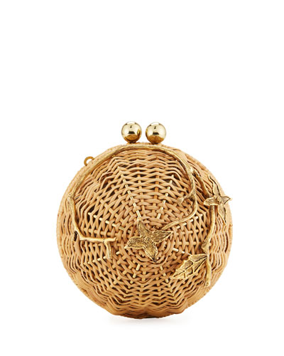 Rattan Brass Lulu Circle Crossbody Bag