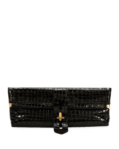 Embossed Croc East-West Clutch Bag