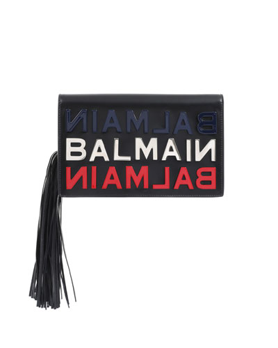 Leather Logo Tasseled Clutch Bag