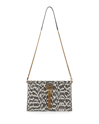Gem Medium Snakeskin Shoulder Bag with Tassel
