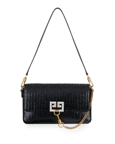 Charm Small Laser-Cut Patent Shoulder Bag