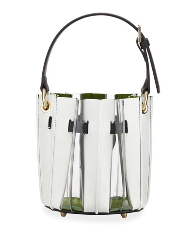 Mini Plisse Pleated Leather Bucket Bag