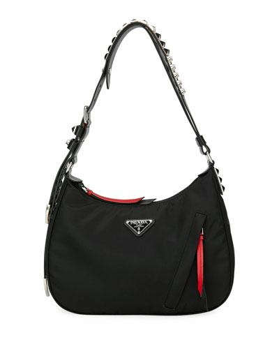 Prada Black Nylon Shoulder Bag w/ Studding