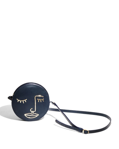 Sorrow Leather Circle Shoulder Bag, Navy