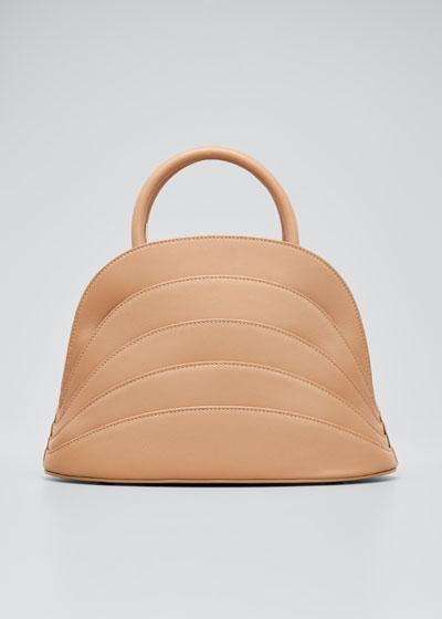 Millefoglie J Layered Top Handle Bag, Brown