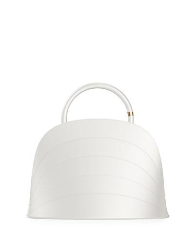 Millefoglie J Layered Top Handle Bag, White