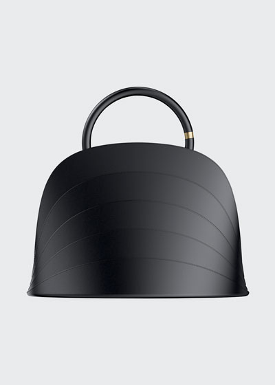 Millefoglie J Layered Top Handle Bag, Black