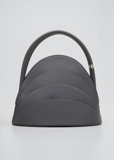 Millefoglie Layered Top-Handle Bag, Gray