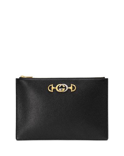Gucci Zumi Leather Pouch Clutch Bag