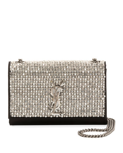Kate Monogram YSL Small Crystal Satin Chain Crossbody Bag