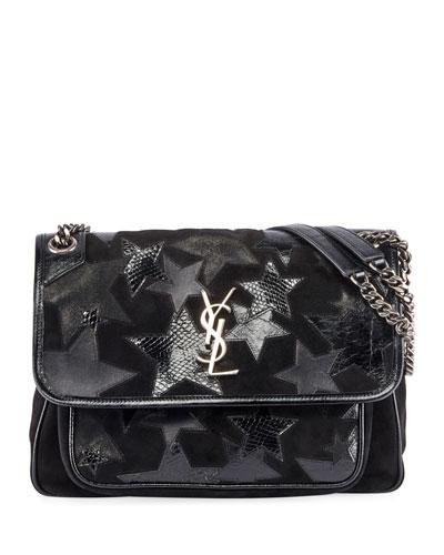 Niki Medium YSL Monogram Stars Flap Shoulder Bag