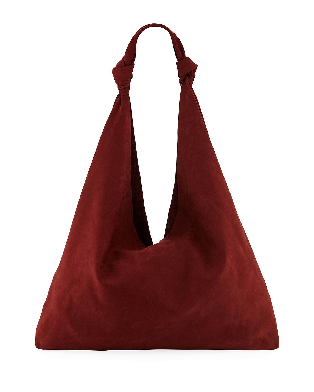 Bindle Double-Knot Suede Shoulder Bag in Maroon
