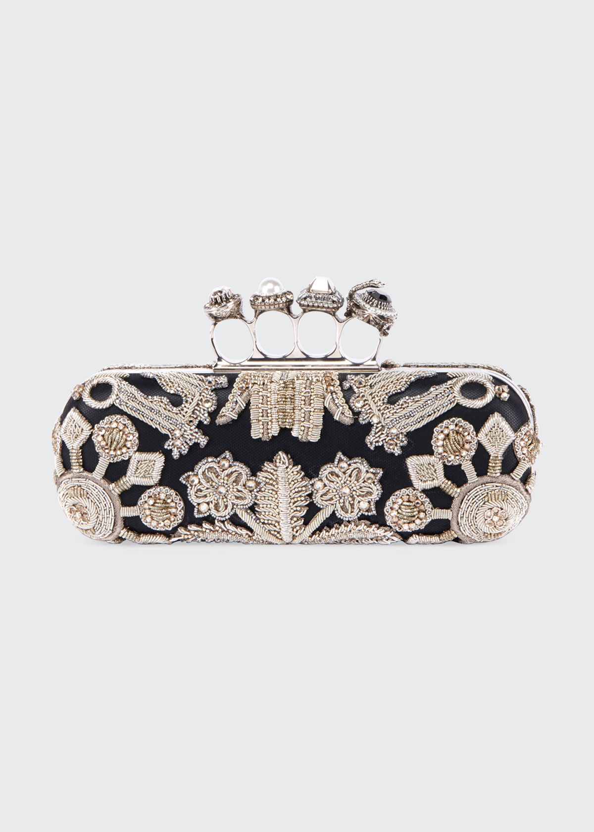 Jewelled Four Ring Clutch W/ Crystal Embroidered Swans in Black/Silver
