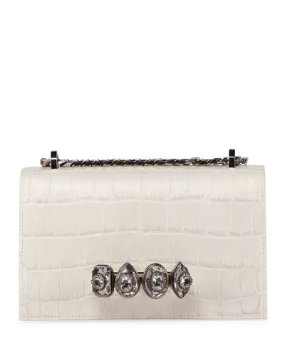 Jeweled Embossed Croc Satchel