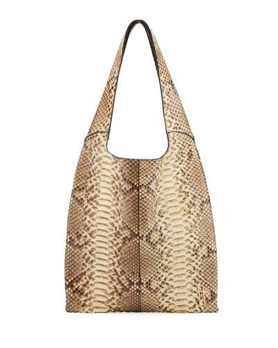 Grand Shopper Python Tote Bag, Taupe