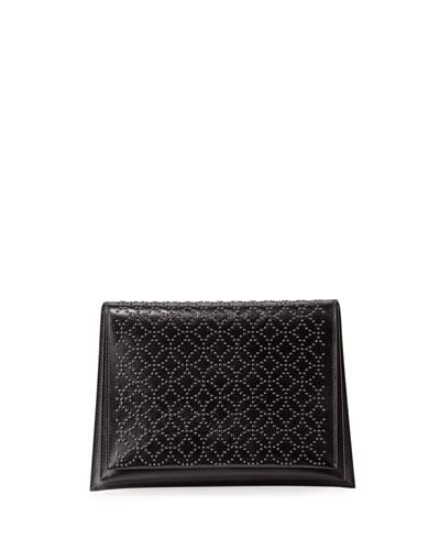 Arabesque Studded Leather Clutch Bag