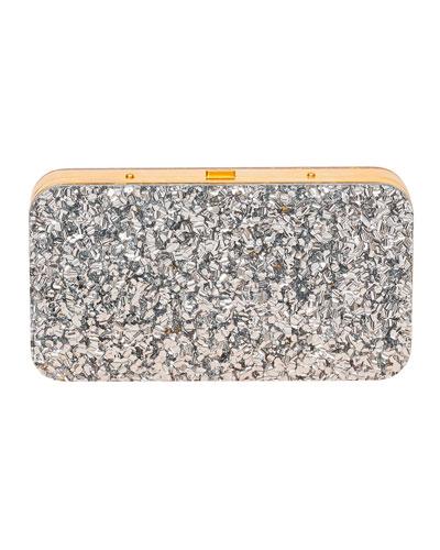 Glittered Acrylic Minaudiere Clutch Bag
