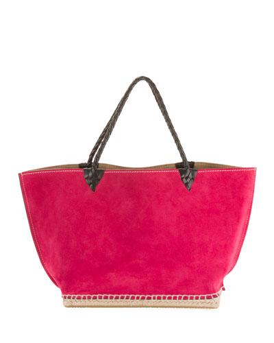 Small Espadrille Tote Bag, Dark Pink