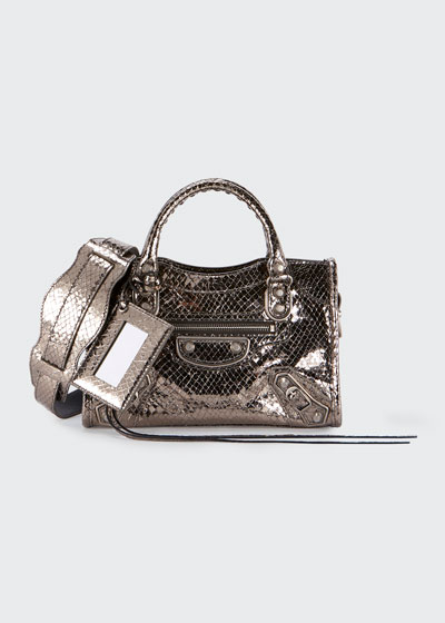 Metallic Edge Mini City AJ Snake-Embossed Bag