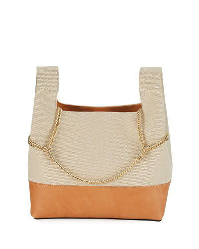 Chain Linen Top-Handle Bag