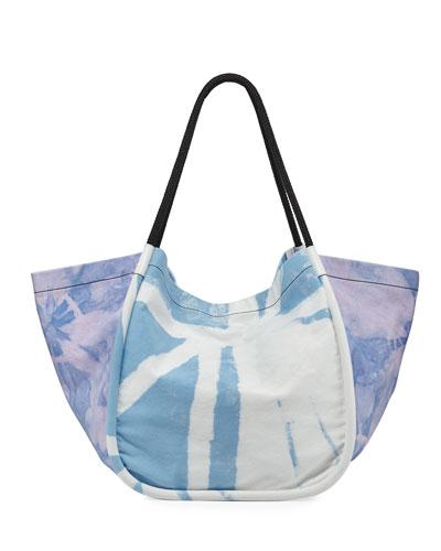 Extra Large Denim Tie-Dye Tote Bag