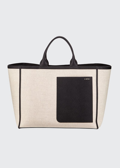 Canvas Leather-Trim Shopping Tote Bag