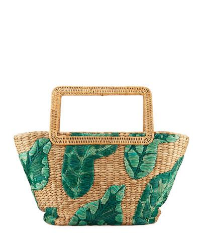 Cherine Embroidered Raffia Top-Handle Bag