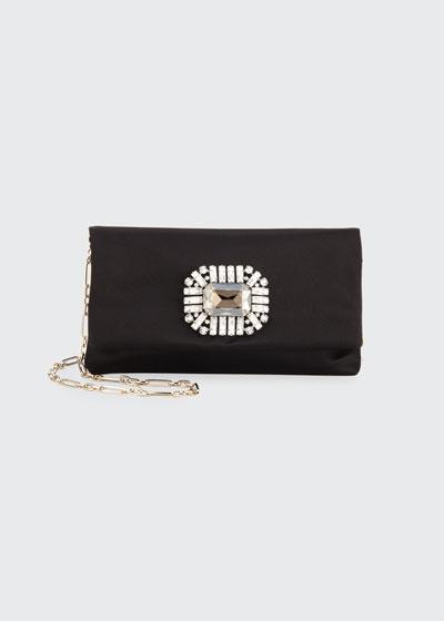 Titania Jeweled Satin Clutch Bag, Black