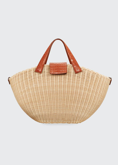 Wicker & Crocodile Large Tote Bag