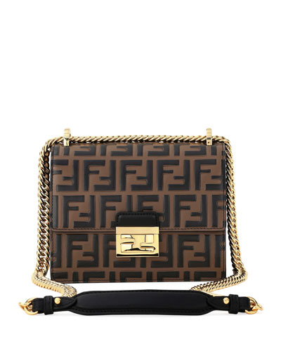 Kan U FF-Embossed Two-Tone Crossbody Bag