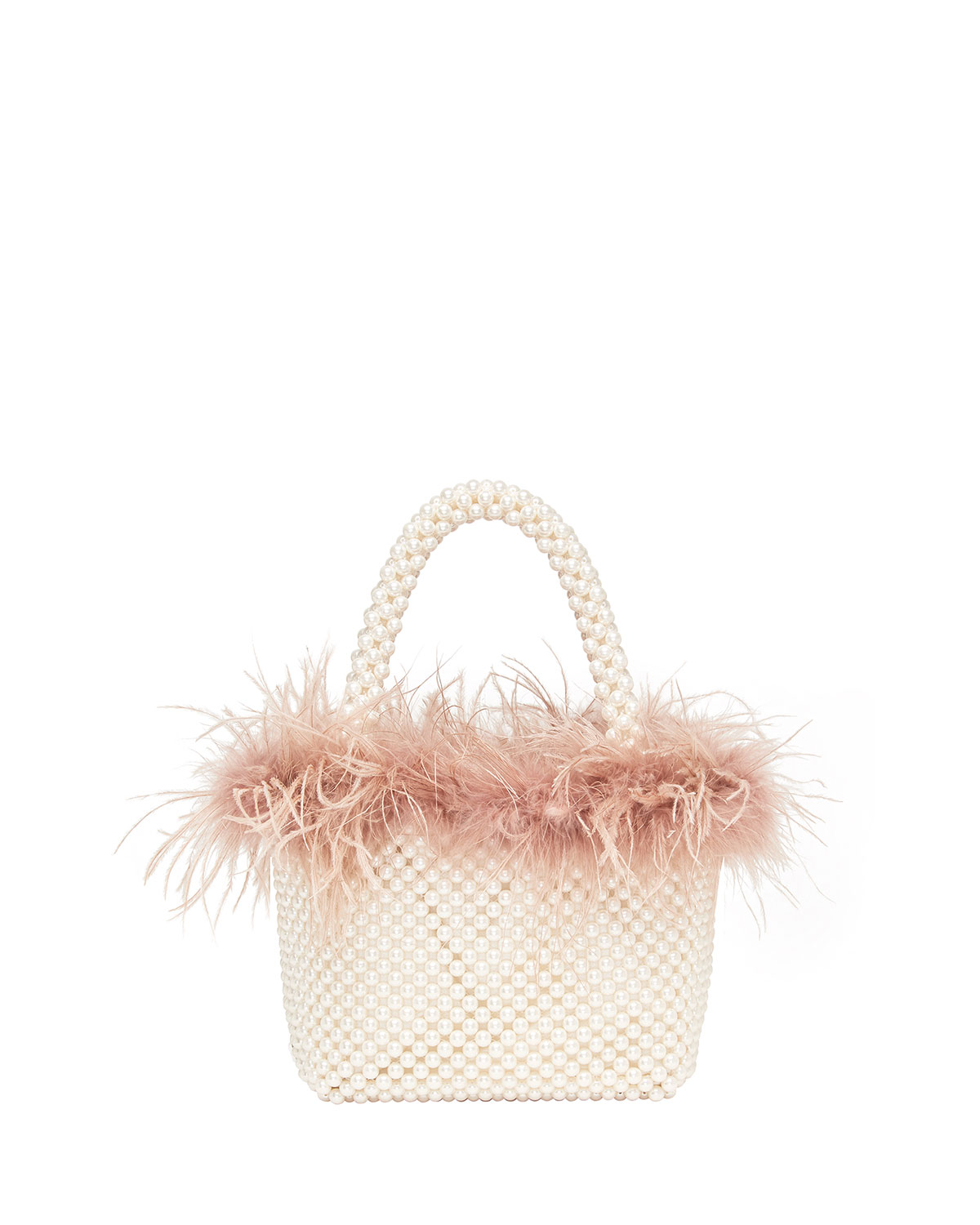 Loeffler Randall Totes MINA MINI BEADED TOTE BAG WITH FEATHER TRIM
