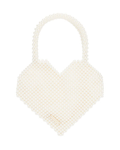 Pearly Beaded Maria Heart Top Handle Bag