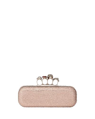 Jeweled Four-Ring Crystal Embellished Clutch Bag