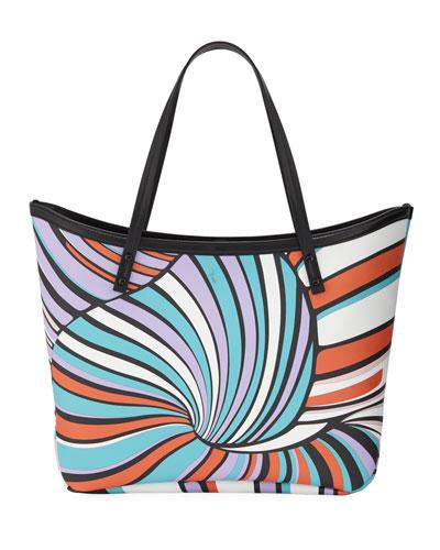 Printed Saffiano Large Tote Bag