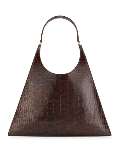 Rey Large Croc-Embossed Hobo Bag