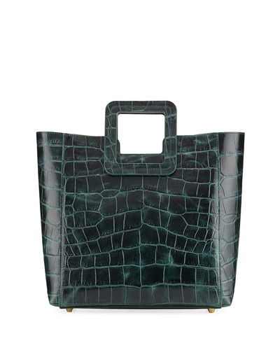 Shirley Crocodile-Embossed Tote Bag