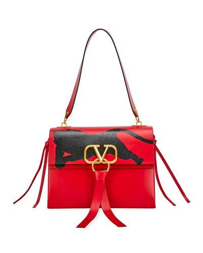 V Ring Medium Shoulder Bag with Karung Panther