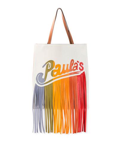 x Paula's Ibiza Colorblock Fringe Tote Bag