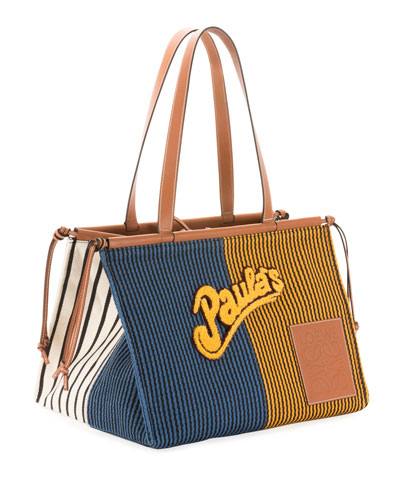x Paula's Ibiza Stripes Cushion Tote Bag, Blue/Yellow