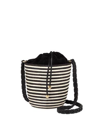 Striped Woven Lunchpail Crossbody Bucket Bag