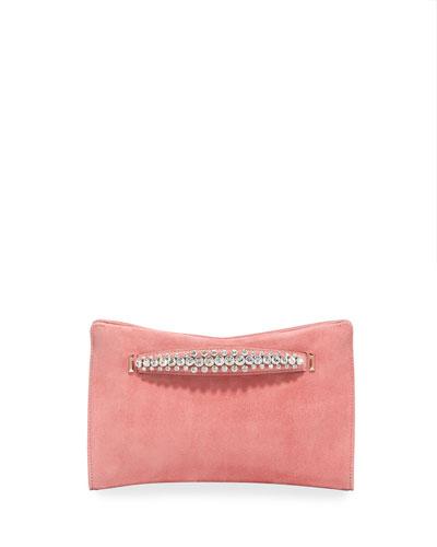 Venus Crystal-Handle Suede Clutch Bag, Pink