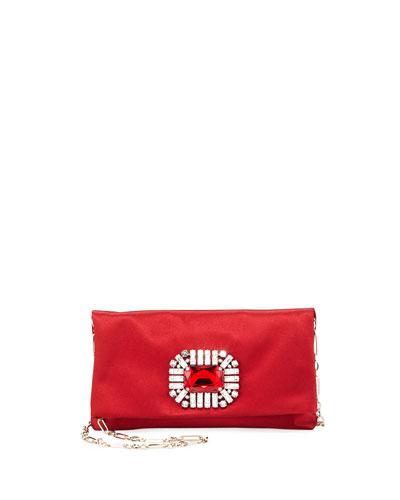 Titania Jeweled Satin Clutch Bag, Red
